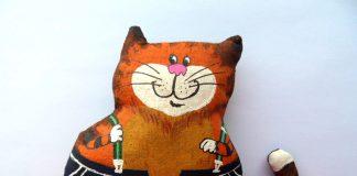 Кофейная текстильная игрушка кот Таити