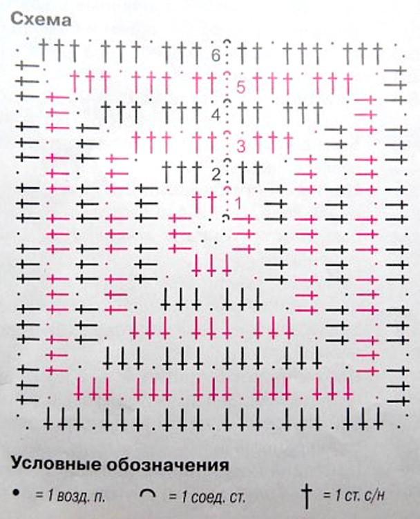 Вязание крючком квадрат простой схема 20