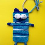 Полосатый голубой коточехол