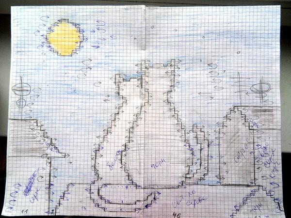 Коты на крыше рисунок схема вышивка вязание
