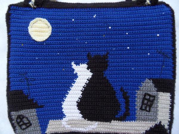 Вязаная крючком сумка с котами Мечты о большой медведице