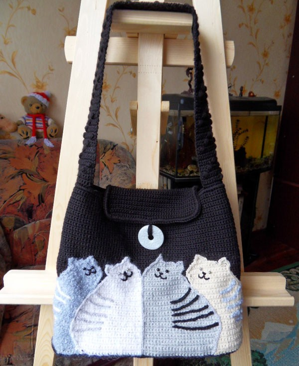 Вязаная сумка Коты