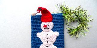 Вязанный крючком чехол на телефон Снеговик