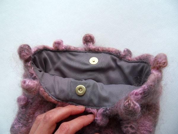 Вязаная сумка - подкладка и замок-магнит