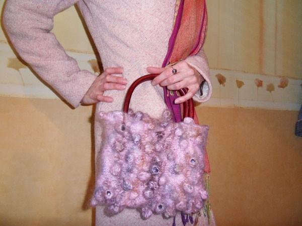 Вязаная сумка в технике Шибори
