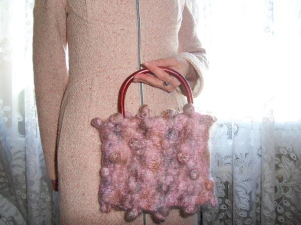 Вязаная сумка в технике shibori