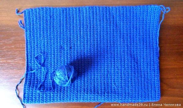 Вязанное крючком полотно столбики без накида