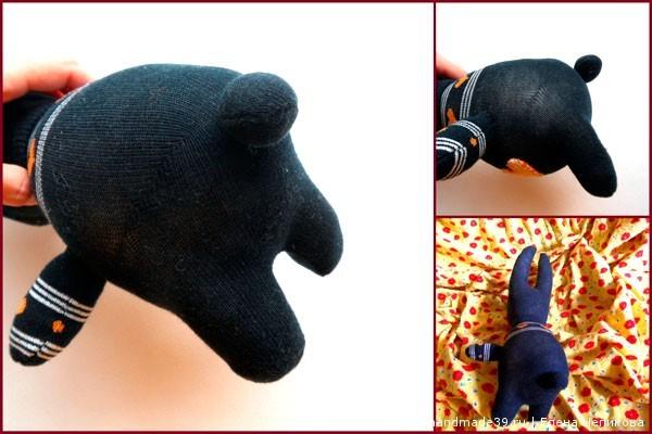 Шитый заяц из носков - хвостик