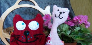 Шитые игрушки коты