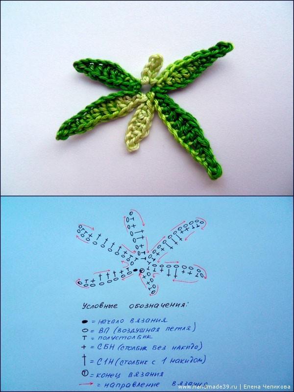Вязаная пальма листья схема