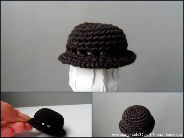Вязаная шляпа-котелок