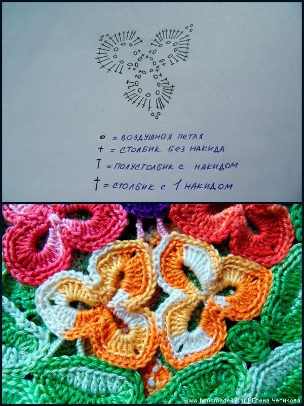 Элемент фриформ цветок 3 лепестка - схема