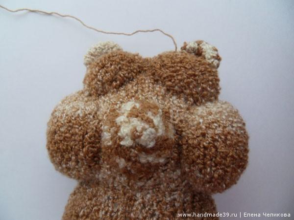 Вязаный медвежонок голова сборка