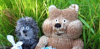 Вязаная игрушка Медвежонок в тумане