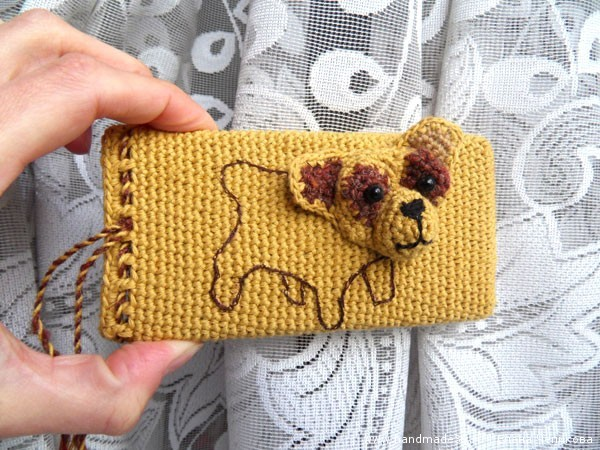 Вязанный крючком чехол для телефона Объёмная собака мастер-класс