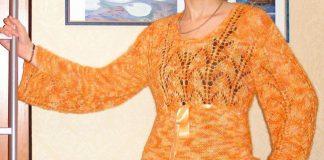 Вязаный рыжий ажурный пуловер