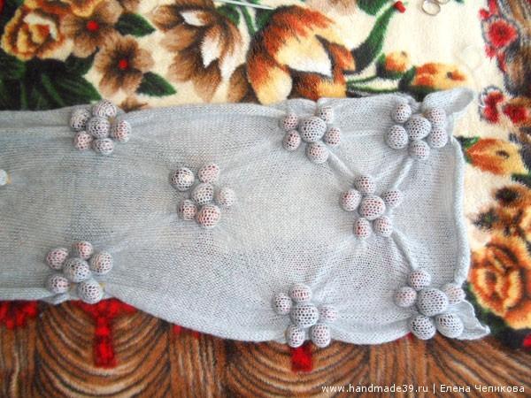 Вязаный шарф в технике шибори