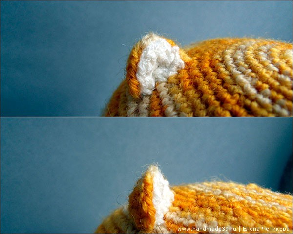 Вязаный кот крючком - ушки