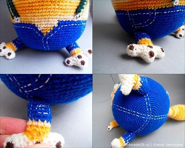 Вязаный кот крючком джинсы
