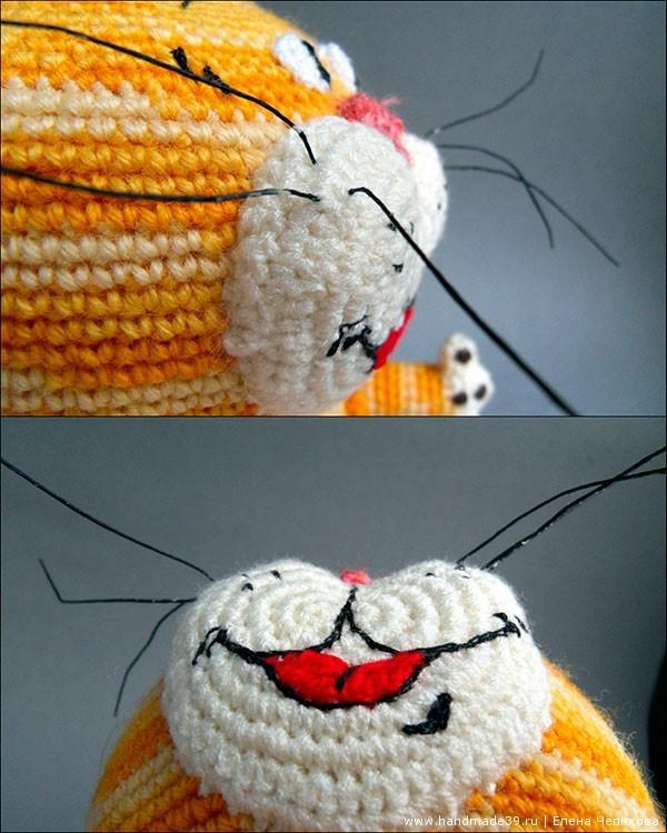 Вязаный кот крючком мордочка