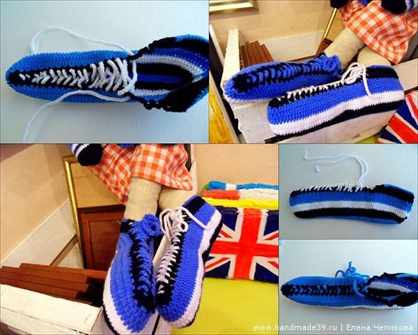 Вязаные ботинки-кеды