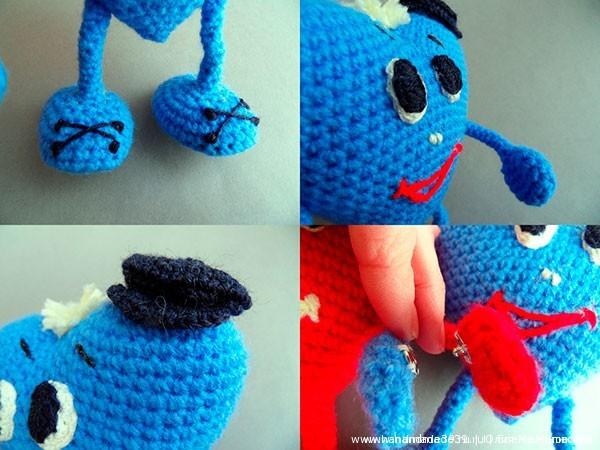 Пришиваем части кнопки на ручки мальчику и девочке так, чтобы сердца могли держаться за руки.