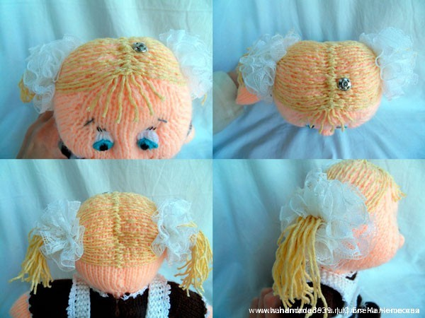 Вязаная спицами кукла Школьница