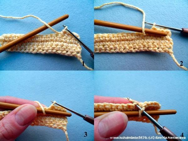 Здесь показаны этапы провязывания вытянутой петли с помощью круглой палочки (это кисточка).