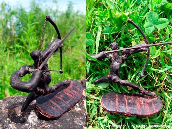 Скульптура из коряги Лучник