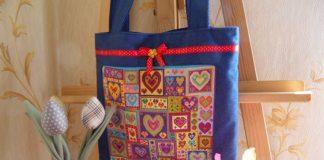 Шитая сумка с вышивкой Сердца