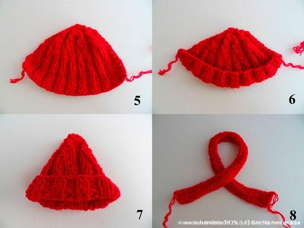 Вязаная шапочка и шарфик для игрушки