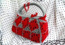 Вязаная сумка Красно-серые кораллы