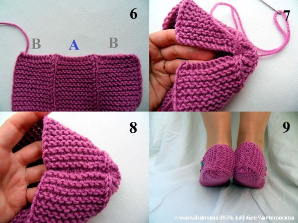 Knitted Slippers Lilac 03 Тапочки «Сирень»
