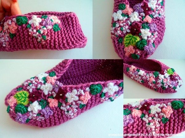 Knitted Slippers Lilac 06 Тапочки «Сирень»