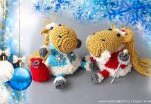 Вязаные Рождественские лошадки