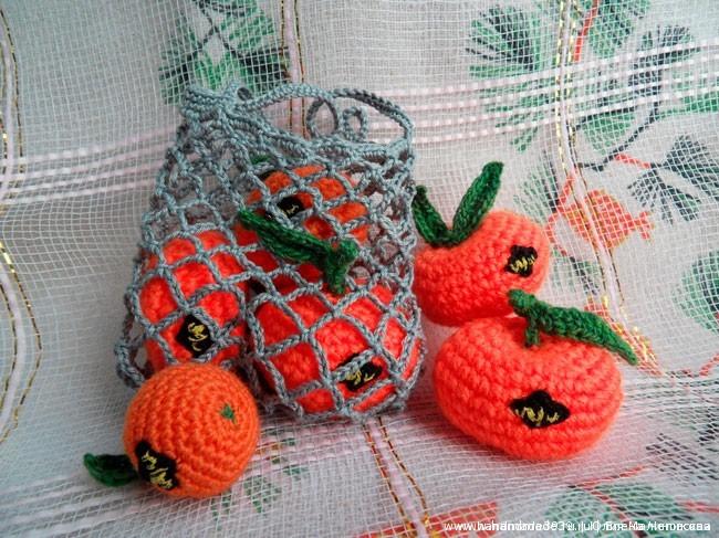 Вязананые игрушки Мандарины в авоське