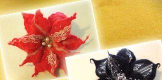 Валяная брошь-цветок