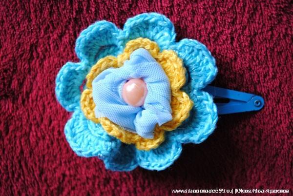Заколка-цветок. ручной работы в смешанной технике