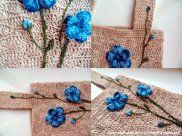 Объёмная вышивка - цветы льна. Вязанная крючком сумка Лён