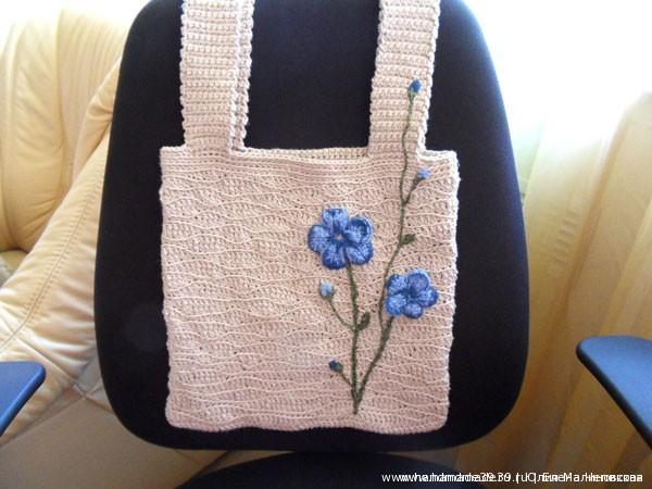 Вязанная крючком сумка Лён - авторская работа