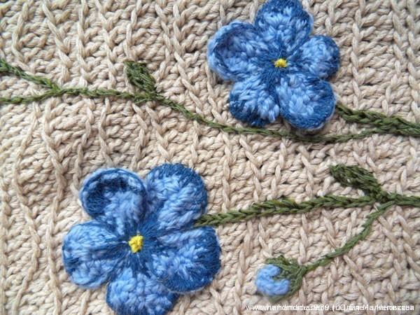 Объёмная вышивка-аппликация - цветы льна