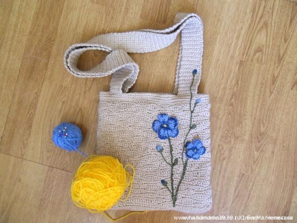 Вязанная крючком сумка Лён с объёмной аппликацией-вышивкой