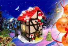Вязаный новогодний домик