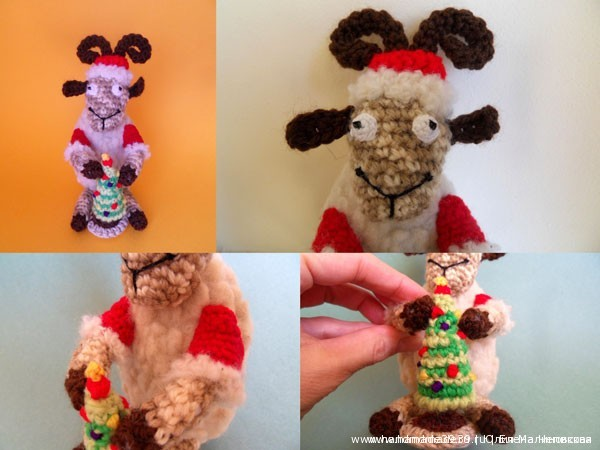 Вязаная игрушка Баран (овца) Дед Мороз с вязаной ёлкой