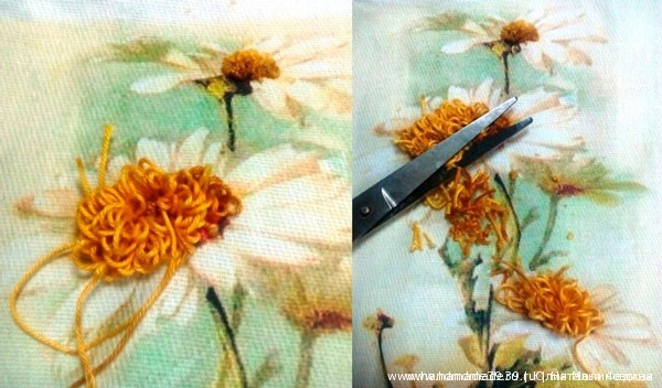 Серединка ромашки вышивка лентами мк 5