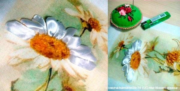 Вышивка лентами по принту - лепестки ромашки
