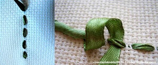 Вышивка лентами по принту - намётка обвитая