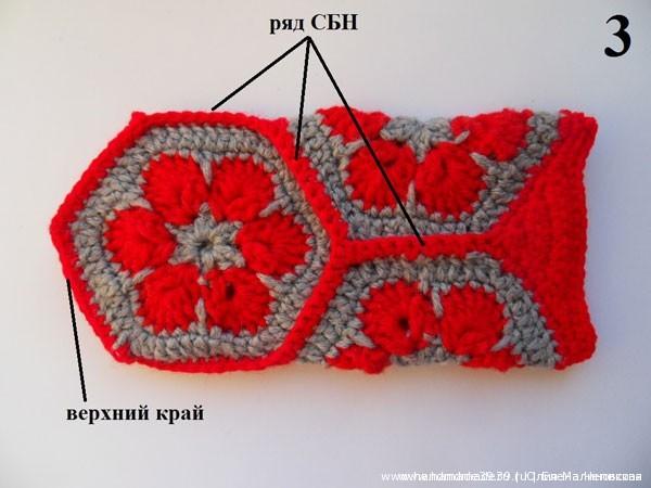 Вязаный чехол на телефон Африканский цветок