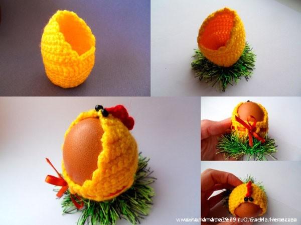 Вязаная подставка для пасхальных яиц Курочка