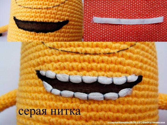 Вязанная крючком игрушка Миньон. Оформление рта.